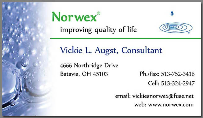 Design: Business Cards: Norwex Representative, Vickie Augst